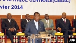 FILE - Chadian President Idriss Deby delivers his opening remarks at the special summit of the 10-nation Economic Community of Central African States (ECCAS) in Ndjamena on January 9, 2014.