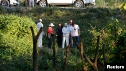 Members of a forensic team search for human remains, near where a mass grave was discovered in a trash dump, outside the mountain town of Cocula, near Iguala in the southwestern state of Guerrero, October 28, 2014.