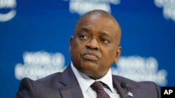 Botswana's President Mokgweetsi Eric Keabatswe Masisi tales part in a panel discussion at the World Economic Forum in Davos, Switzerland, Tuesday, Jan. 21, 2020. The 50th annual meeting of the forum will take place in Davos from Jan. 21 until Jan…