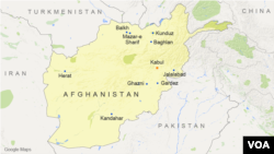 A map of Afghanistan showing major cities, including Kandahar.