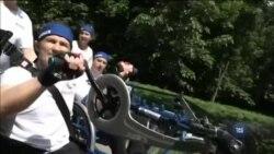 Тяжкопоранені ветерани АТО взяли участь у велопробігу у Броварах. Відео