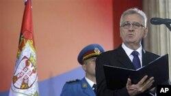 11일 취임식에서 연설하는 토미슬라브 니콜릭 세르비아 대통령.