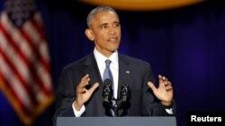 Predsednik SAD Barak Obama u svom oproštajnom govoru u Mekormik dvorani u Čikagu, Ilinois, 10. januara 2017. ( REUTERS/John Gress - RTX2YER7)