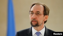 Zeid Ra'ad al-Hussein, U.N. High Commissioner for Human Rights, addresses the Human Rights Council at the United Nations in Geneva, Switzerland Feb. 26, 2018.