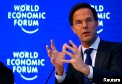 Mark Rutte, Prime Minister of the Netherlands attends the World Economic Forum annual meeting in Davos, Switzerland, Jan. 19, 2017.