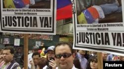 Marcha contra el presidente Hugo Chávez exigiendo justicia en Venezuela. El ex magistrado Eladio Aponte confirmó la existencia de presos políticos en Venezuela.