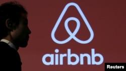 FILE - An Airbnb logo in Tokyo, Japan, Nov, 26, 2015.