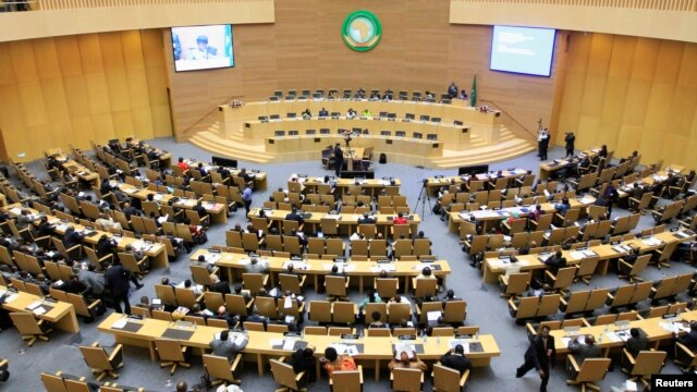 A general view shows the opening session of Heads of States and Government of the African Union on the case of African relationship with the International Criminal Court in Ethiopia's capital Addis Ababa, Oct. 11, 2013.