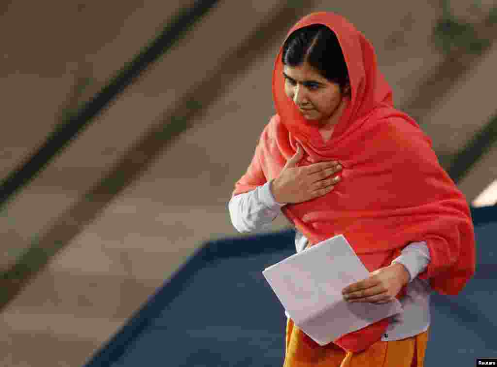 Nobel Peace Prize laureate Malala Yousafzai prepares to deliver her speech during the Nobel Peace Prize awards ceremony at the City Hall in Oslo, Dec. 10, 2014.