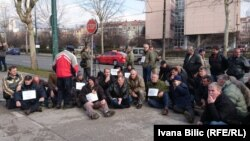 Radnici Hidgoradnje pred Vladom FBiH u Sarajevu, 5. februar 2018. godine.