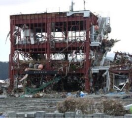 The roof of this building in Minamisanriku, Japan was a designated safe haven, but it proved insufficiently high. Around 10 people managed to cling to life there, but 20 others were swept away.