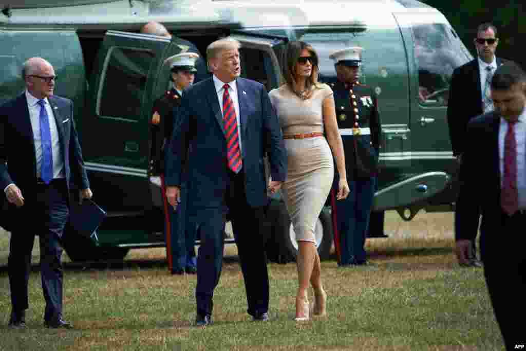 حضور پرزیدنت ترامپ و بانوی اول در محل اقامت سفیر آمریکا در لندن.