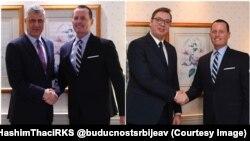 Ričard Grenel sa Hašimom Tačijem i Aleksandrom Vučićem (Foto: @buducnostsrbijeav i @HashimThaciRKS)