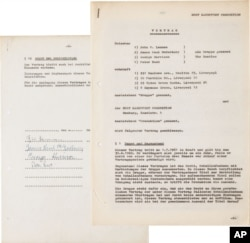 This undated photo provided by Heritage Auctions from an upcoming Beatles collection sale shows the Beatles' first recording contract, which was signed in Hamburg, Germany, where the band honed its craft performing in the city's nightclub district.