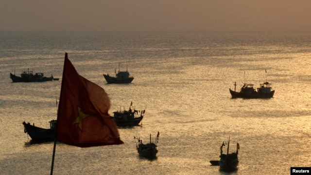FILE - Fishing boats are seen on bay of Ly Son islands of Vietnam's central Quang Ngai province.