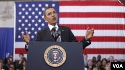 Barack Obama presentó su presupuestopara el año fiscal 2013 desde una universidad comunitaria en Annandale, Virginia.