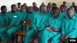 Defendants in this week's trial at a Rwandan Military Tribunal, May 16, 2014. (Photo: Nicholas Long for VOA)
