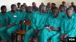 Defendants in this week's trial at a Rwandan Military Tribunal, May 16, 2014. (Photo: Nicholas Long for VOA)