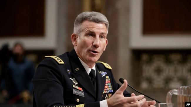 Gen. John Nicholson, the top U.S. commander in Afghanistan, testifies on Capitol Hill in Washington, Feb. 9, 2017, before the Senate Armed Services Senate Committee.
