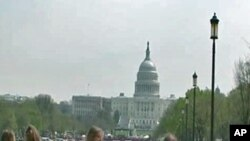 Tourists on the National Mall in Washington