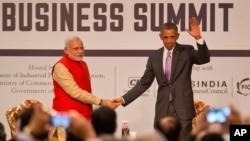 2015年1月26日美國總統奧巴馬與印度總理莫迪出席在印美商業峰會。