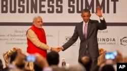 2015年1月26日美国总统奥巴马与印度总理纳伦德拉.莫迪出席在印美商业峰会
