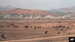 지난달 8일 봄맞이 씨뿌리기를 하는 북한 주민들.
