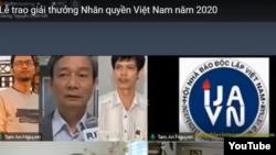 Hội Nhà báo Độc lập Việt Nam (IJAVN) được vinh danh tại lễ trao giải của Mạng lưới Nhân quyền Việt Nam 2020, ngày 21/11/2020.