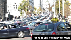 Arhiva - Beogradski taksisti u protestu (Foto: Aleksandra Nenadović, VoA)