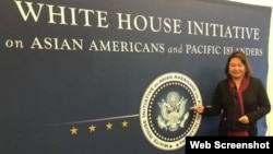 南佛羅里達州的中國移民楊蒞(Cindy Yang)在臉書貼出的在白宮參加活動的照片。