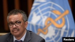 WHO Director-General Tedros Adhanom Ghebreyesus attends a news conference organized by Geneva Association of United Nations Correspondents (ACANU) amid the COVID-19 outbreak, caused by the novel coronavirus, in Geneva, July 3, 2020.