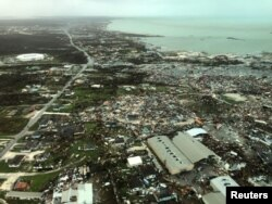 An aerial view shows devastation after hurricane Dorian hit the Abaco Islands in the Bahamas, Sept. 3, 2019.