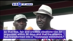 "VOA60 World - Kenya: Opposition leader Raila Odinga tells supporters that the NASA has transformed into a ""resistance movement"""