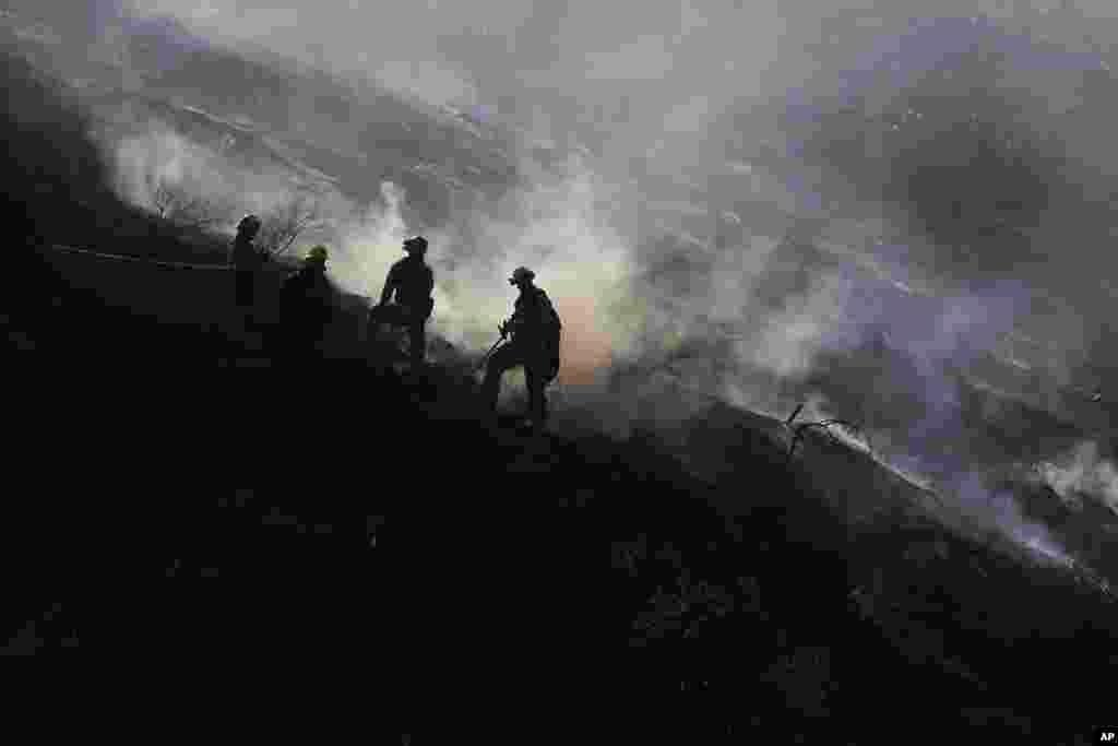 Pemadam kebakaran berusaha memadamkan kebakaran hutan di bagian dari bukit Hollywood, Los Angeles, California.