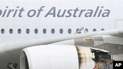 Qantas passenger plane which made an emergency after having engine problems is shown at Singapore's Changi International Airport, 04 Nov 2010