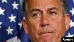U.S. House Speaker John Boehner holds a news conference, Republican National Committee offices, Washington, Oct. 23, 2013.
