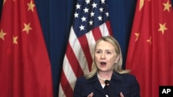 U.S. Secretary of State Hillary Rodham Clinton speaks during a press conference after the U.S. - China Strategic and Economic Dialogue in Beijing Friday, May 4, 2012. (AP Photo/Alexander F. Yuan)