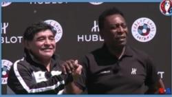 Les deux rivaux du foot Pele et Maradona cherchent la paix (vidéo)