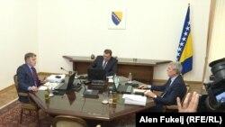 Slijeva nadesno: Željko Komšić, Milorad Dodik i Šefik Džaferović