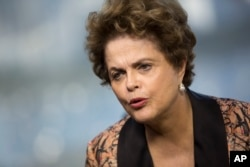 FILE - Brazil's former President Dilma Rousseff gives an interview in Rio de Janeiro, Brazil, July 14, 2017.
