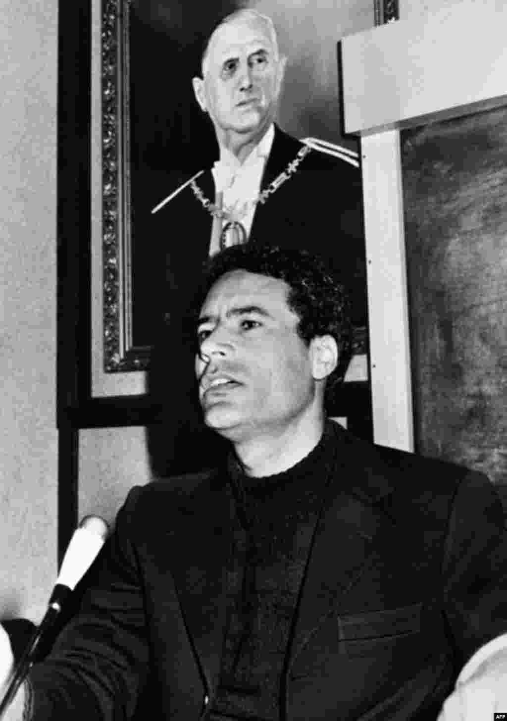 File picture of Libyan leader Col. Moammar Gadhafi with official picture taken in Libya, the 25 February 1975, (AFP).