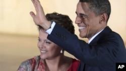 ԱՄՆ-ի նախագահ Բարաք Օբաման և Բրազիլիայի նախագահ Դիլմա Ռուսեֆը՝ Բրազիլիայում կայացած հանդիպման ժամանակ (արխիվային լուսանկար)
