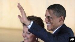 美国总统奥巴马与巴西总统罗塞夫2011年3月19日在巴西利亚。