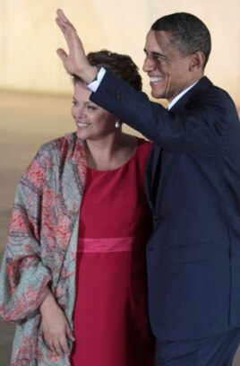 US President Barack Obama with Brazil President Dilma Rousseff at Itamaraty Palace in Brasilia, Brazil, March 19, 2011.
