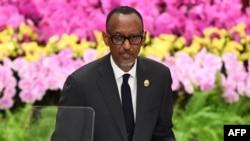 Le président rwandais, Paul Kagame, prend la parole lors de la cérémonie d'ouverture du Forum sur la coopération Chine-Afrique au Grand Palais du Peuple à Beijing, le 3 septembre 2018.