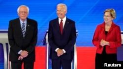 Vermont အထက္လႊတ္ေတာ္အမတ္ Bernie Sanders. ဒုသမၼတေဟာင္း Joe Biden ၊ မက္ဆက္ခ်ဴးဆက္ ျပည္နယ္ အထက္လႊတ္ေတာ္အမတ္ Elizabeth Warren