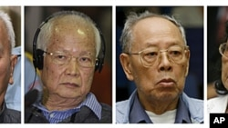 Four top surviving leaders of the Khmer Rouge regime from left to right: Nuon Chea, the group's ideologist; former head of state and public face of the regime, Khieu Samphan, former Foreign Minister Ieng Sary; and his wife Ieng Thirith, ex-minister for so