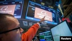 Harga saham perusahaan China, Alibaba (BABA), naik 36 persen di Bursa Saham New York (NYSE), Jumat (19/9).