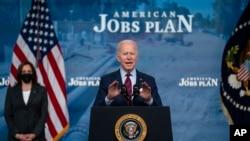拜登總統在白宮談他的《美國就業計劃》。(2021年4月7日)