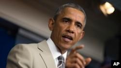바락 오바마 미국 대통령이 28일 백악관 기자회견에서 시리아 사태 등에 대한 입장을 밝혔다.